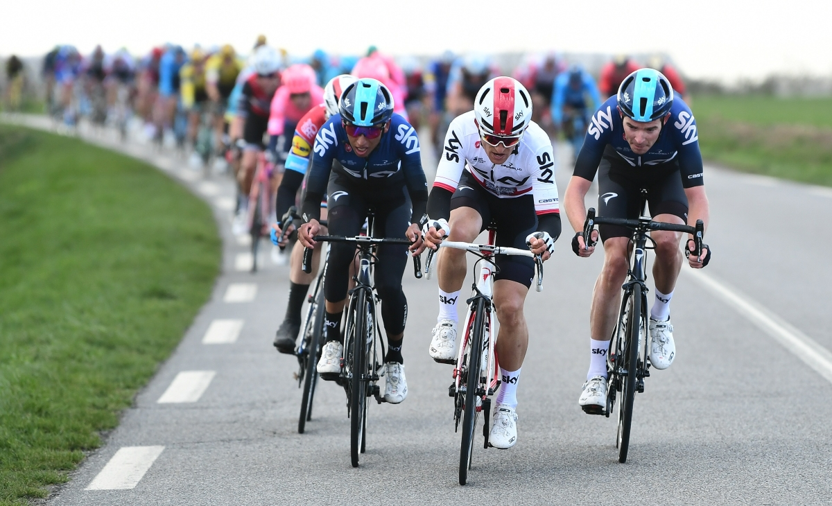 Paris-Nice 2019 - 2019/03/10 - Etape 1 - Saint-Germain-en-Laye / Saint-Germain-en-Laye (138.5km) - Bernal, Rowe, Kwiatkowski (TEAM SKY)
